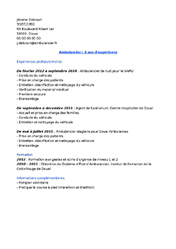 cv ambulancier gratuit Exemple de CV Ambulancier | STAFFSANTÉ cv ambulancier gratuit