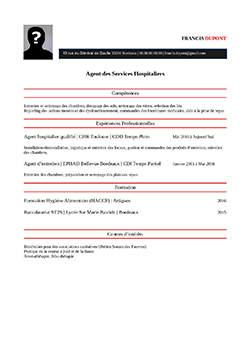modèle exemple de cv ash agent services hospitaliers staffsantÉ