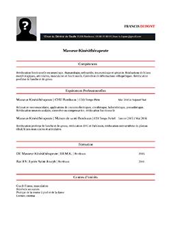 exemple de cv kinésithérapeute Modèle, exemple de CV Masseur Kinésithérapeute | STAFFSANTÉ exemple de cv kinésithérapeute