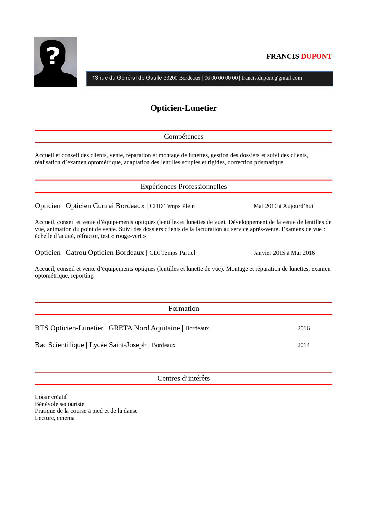 CV Opticien pdf
