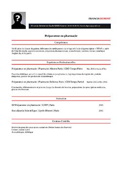 Modele Exemple De Cv Preparateur En Pharmacie Staffsante