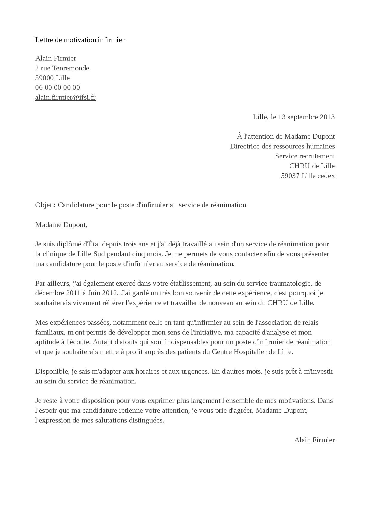 exemple de lettre de motivation infirmier